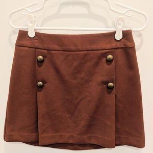 NWOT Brown brass button mini skirt
